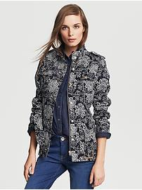 Floral-Print Belted Field Jacket