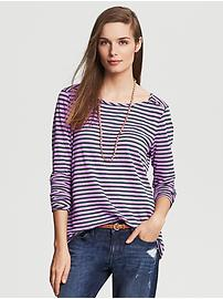 Striped Linen Button-Shoulder Tee