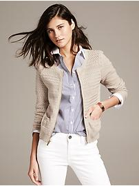 Basket Stitch Zip Cardigan