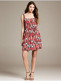 Coral Ikat Belted Dress