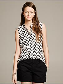 Boat Print Sleeveless Blouse