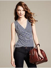 Striped Linen Faux-Wrap Tank