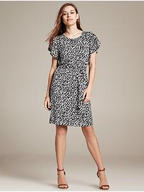 Printed Knit Flutter-Sleeve Dress