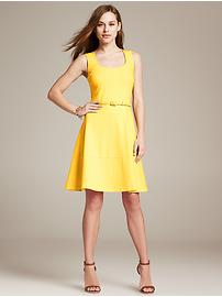 Belted Ponte Fit-and-Flare Dress