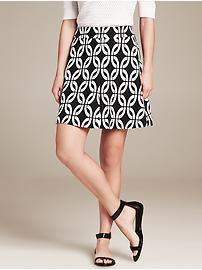 Printed Ponte Fit-and-Flare Skirt