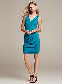 Sleeveless Faux-Wrap Knit Dress