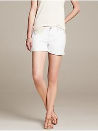 White Denim Roll-Up Short