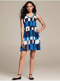 Blue Print Pleated Dress