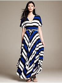Striped Handkerchief-Hem Patio Dress