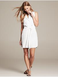 Twill Tie-Front Dress