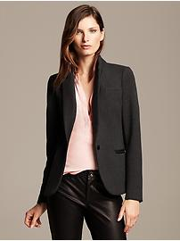 Faux-Leather Trim Blazer