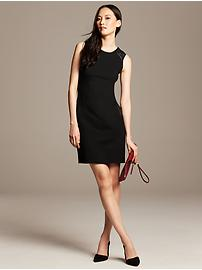 Faux-Leather Trim Dress