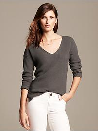 Ribbed Vee Pullover
