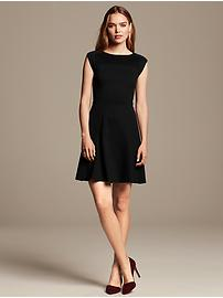 Pintuck Ponte Fit-and-Flare Dress