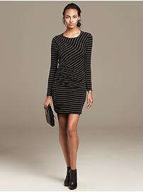 Multi-Stripe Shirred Knit Dress